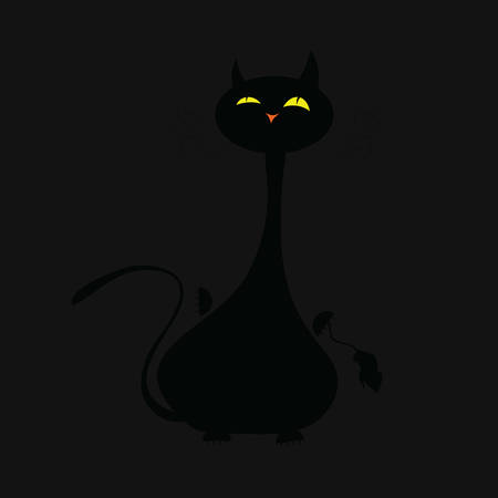 cat holding a mouse illustration on black background Vector
