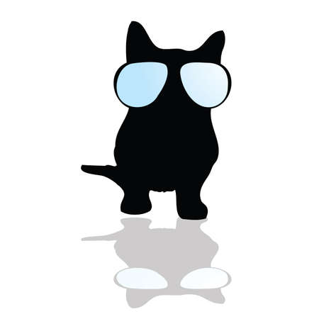 cat with glasses illustration silhouette art vector Vector