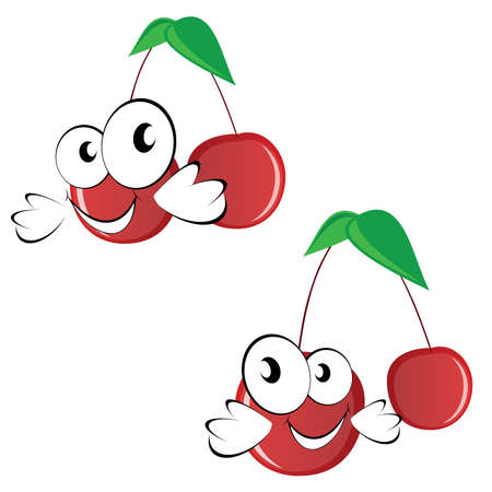 skiny: cherry funny vector illustration with big eye on white