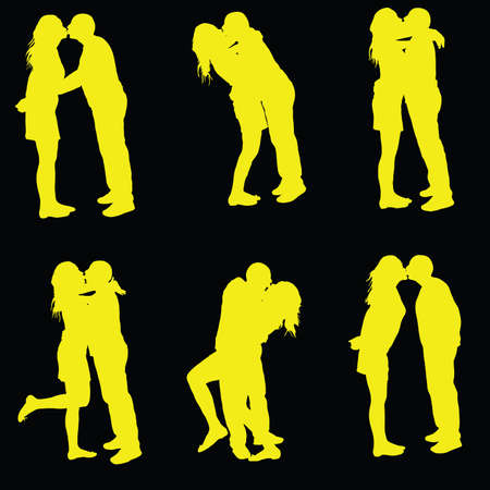 romantic sex: couple kissing yellow silhouette on black background