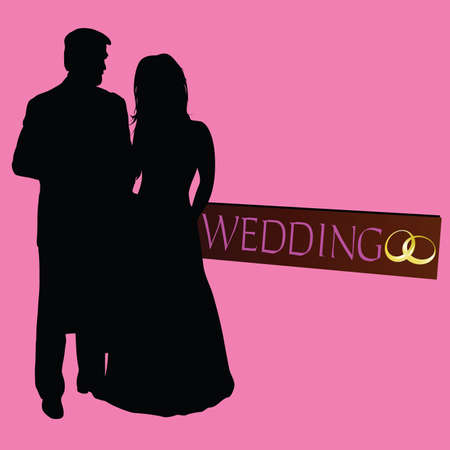 couple wedding silhouette with rings on black Illustration