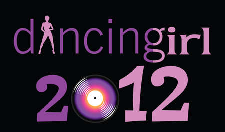 clicker: dancing girl with 2012 year illustration on black background Illustration
