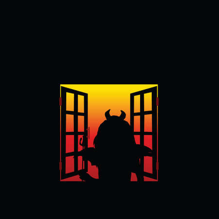fearsome: devil girl at the window illustration art vector on black