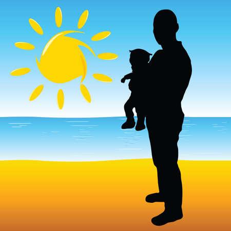 vader met een baby op het strand en de zon illustratie Stock Illustratie