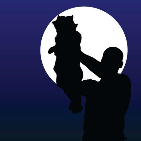 father with baby black silhouette on the moon Vector