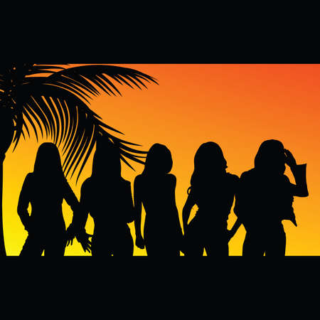 vijf meisjes silhouet met palmboom in de achtergrond Stock Illustratie