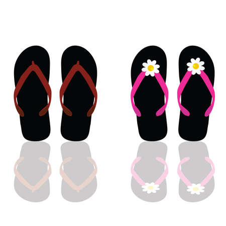 footware: flip flop for beach for man and woman art vector illustration