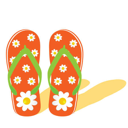 footware: flip flop for beach with flower illustration