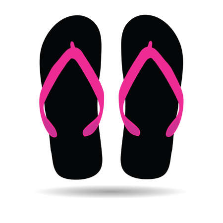 footware: flip flop in black color illustration for the beach