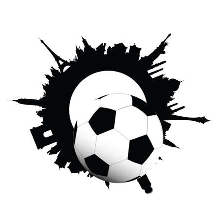 chase: football ball and building of city illustration vector on white background Illustration