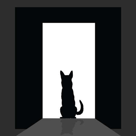 shepard: german shepard at the door silhouette art vector Illustration