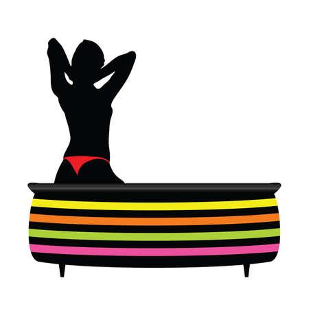 meisje in een bad met rode onderbroek vector illustratie