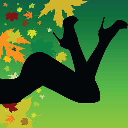 meisje op een blad achtergrond vector silhouet