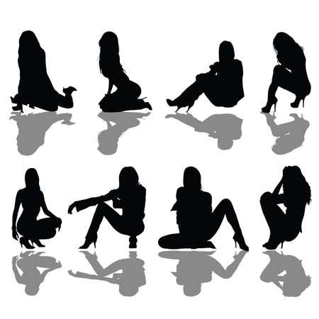 gezet meisje zwart silhouet art vector illustratie Stock Illustratie