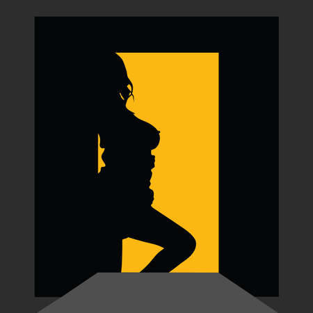 battle of the sexes: girl silhouette at the door with yellow background
