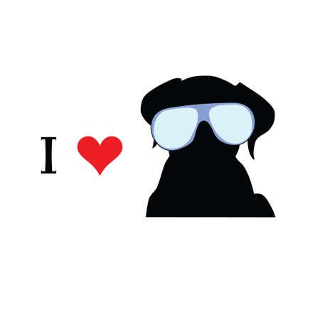 i love dog vector illustration Vector