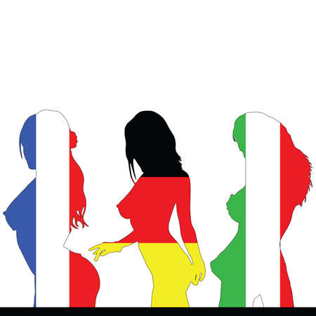 sexes: france and germany and italy girl flag color Illustration