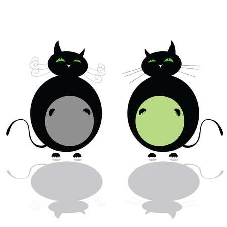 funny two black cat vector of art illustration