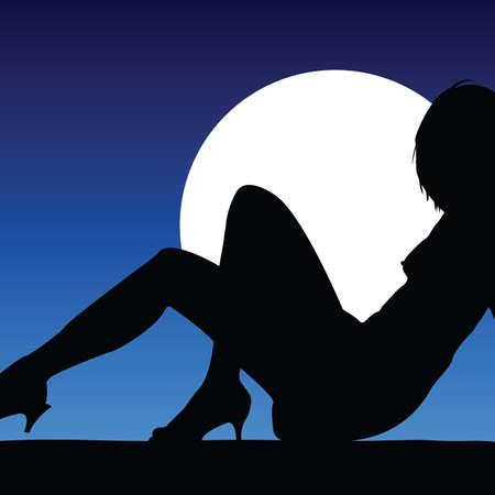 zwart silhouet meisje poseren op een witte cirkel op de achtergrond Stock Illustratie