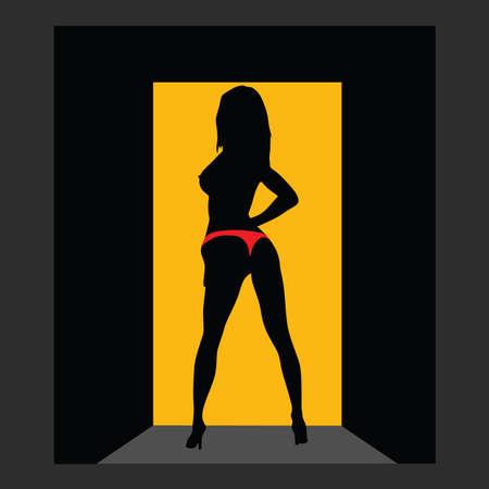 red panties: girl in red panties on door art vector silhouette