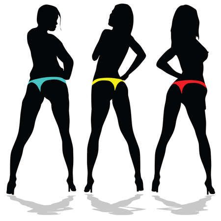 sexes: girl in underwear in three color on white background