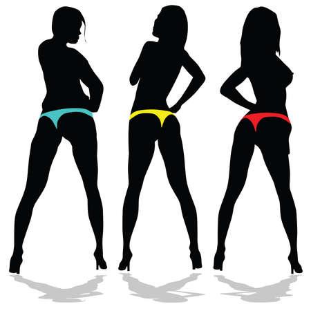 meisje in ondergoed in drie kleuren op een witte achtergrond