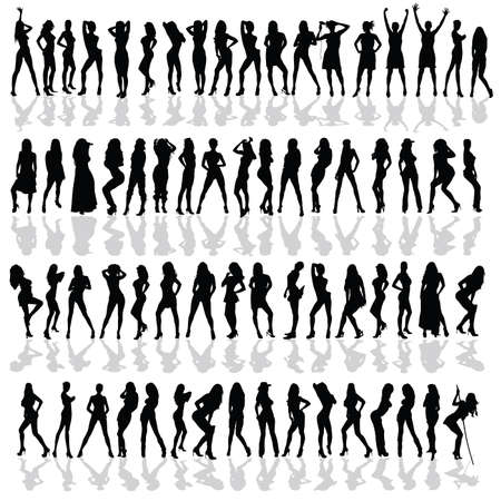 battle of the sexes: girl in various poses black vector silhouette on white background