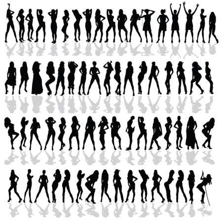 meisje in verschillende poses zwarte vector silhouet op een witte achtergrond
