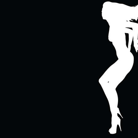 girl leaning on a wall white silhouette with black background