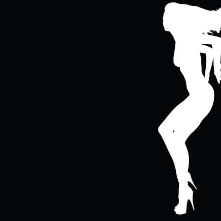 meisje leunend op een muur wit silhouet met zwarte achtergrond