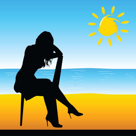 sexes: girl sitting on the chair on the beach vector illustration