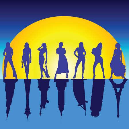 bilding: girls and famous buildings art vector illustration