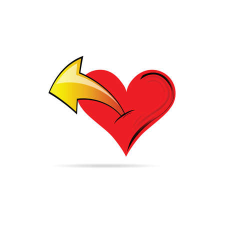 lovestruck: heart with an arrow vector illustration on a white background