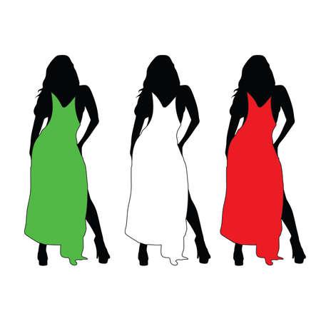 meisje met kleur jurk vector illustratie