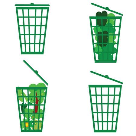 eco flowers basket: green basket vector illustration