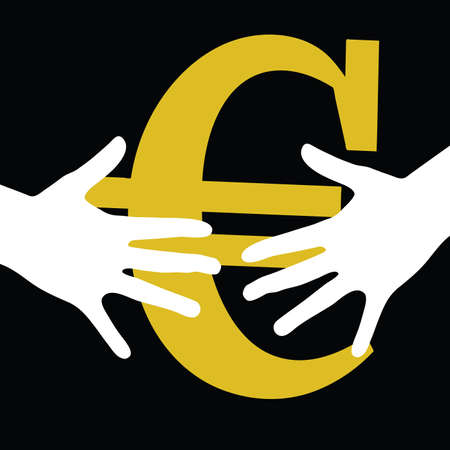 hand held: hand held euro on black background art vector