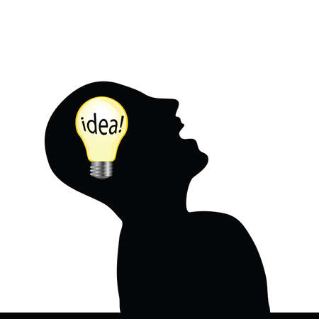 man with an idea wit yellow bulb art vector illustration on white Vector