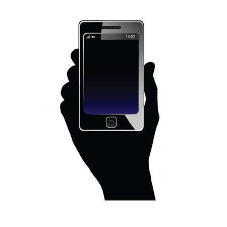 hand art: mobile phone in hand art illustration