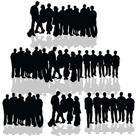 young people group: gruppo di persone silhouette nera su sfondo bianco