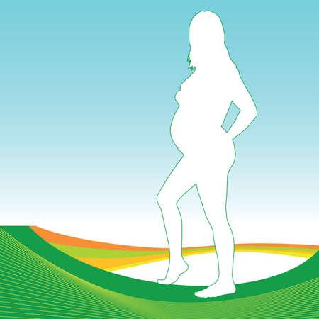 womanlike: pregnant girl with green outline on white illustration Illustration