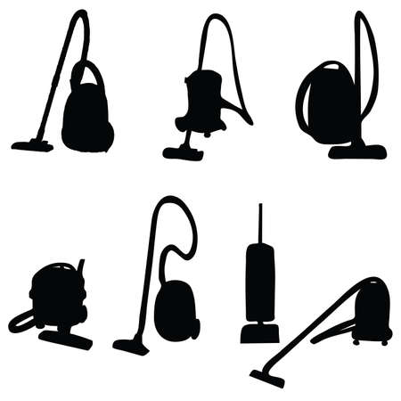subject matter: vacuum cleaner illustration silhouettes on a white background
