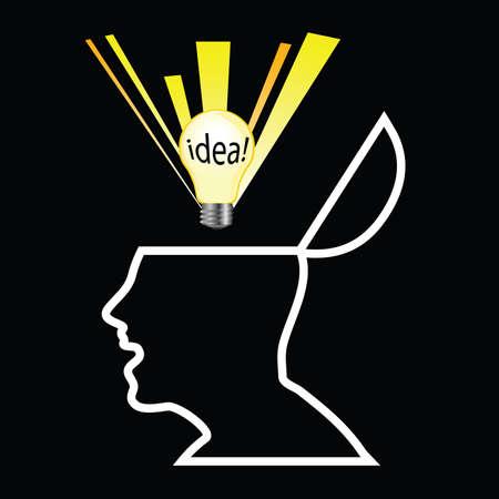 white head with idea art illustration Vector