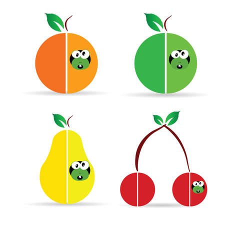 fruit worm: worm in fruit color