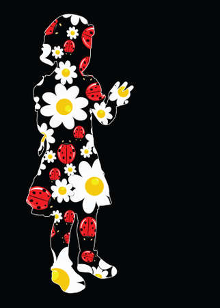 young girl with daisy and ladybug illustration on black Vector