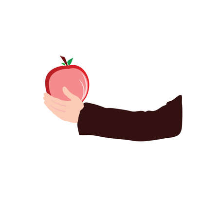 apple in hand color vector illustration Vector