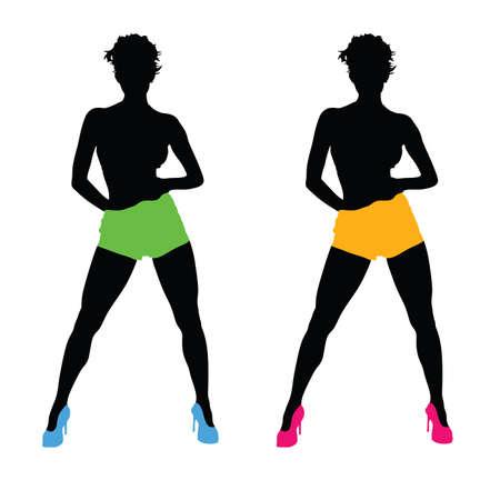 mooie meisjes kleur vector silhouet illustratie