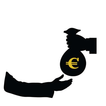 treasury: euro in bag in hand color vector illustration Illustration