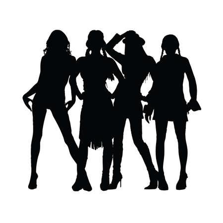 sexes: girl black vector silhouette illustration Illustration