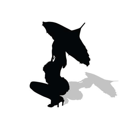 sexes: girl dance with umbrella vector silhouette illustration