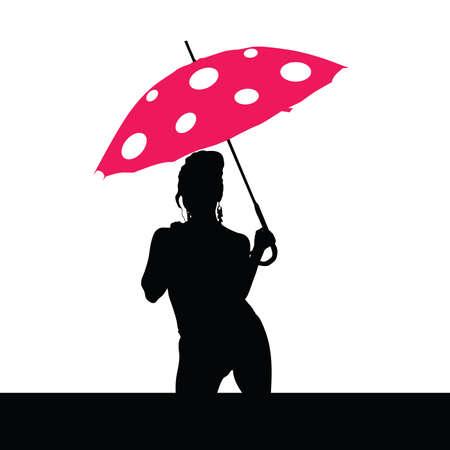 girl holding red umbrella art vector silhouette Vector